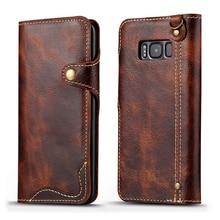 Ретро винтажный Чехол-бумажник из натуральной яловой кожи, откидная крышка с отделением для денег и карт для samsung Galaxy S8/S8Plus S8