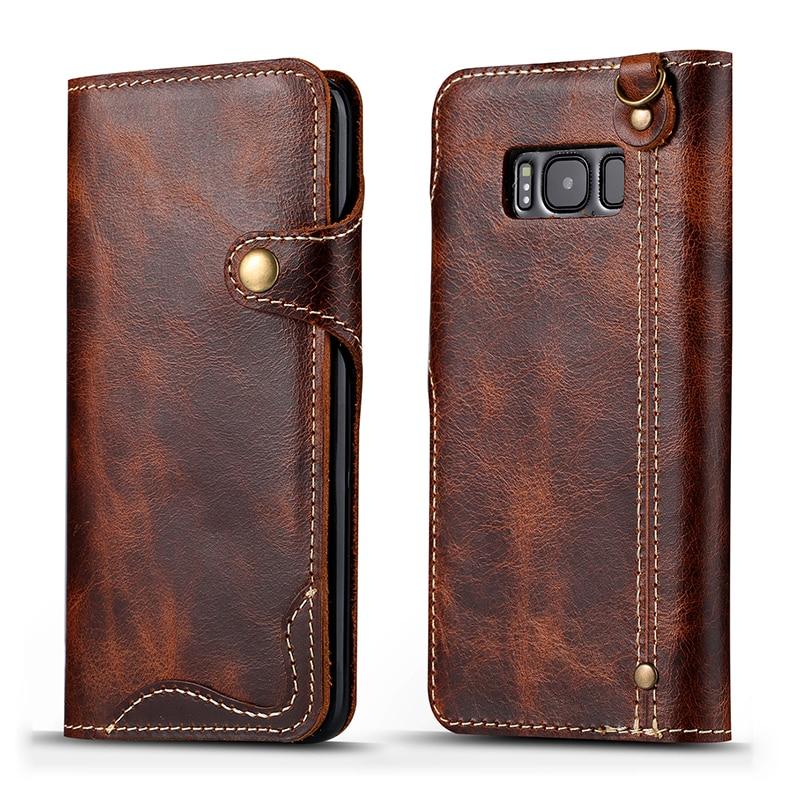 Retro vintage äkta kuskläder plånbokväska Flip Cover med pengar - Reservdelar och tillbehör för mobiltelefoner - Foto 1