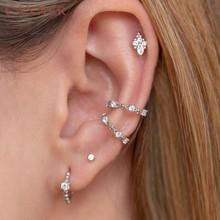 Boucles d'oreilles en Zircon cristal pour femmes, 1 paire, en argent Sterling 925, style flocons de neige, poignets, oreilles sans Piercing, Clip