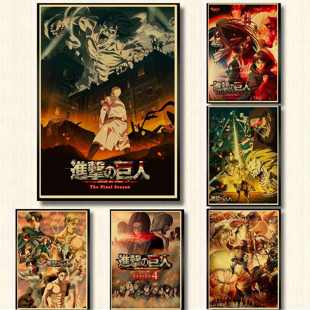 4 винтажных постера из аниме атака на титанов, домашний декор для комнаты, комиксная выставка, настенные наклейки, художественная живопись