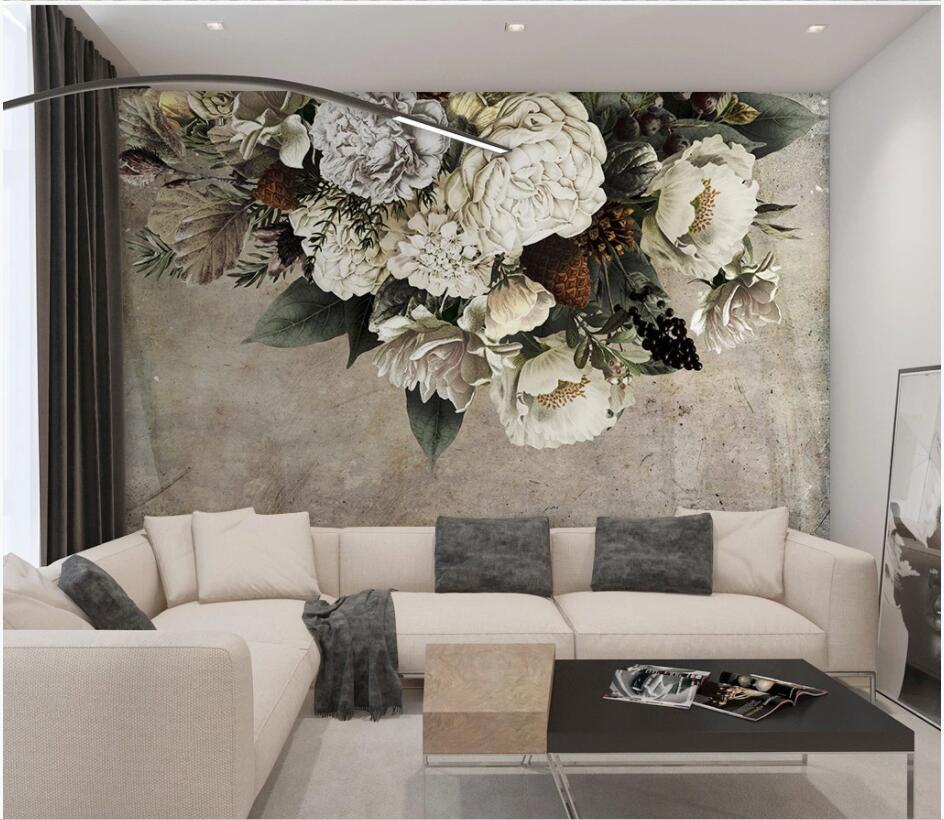 3d Wallpaper Custom Mural Photo European Retro Vintage Hand Drawn Flowers Room Decor 3d Wall Murals Wall Paper For Walls 3 D