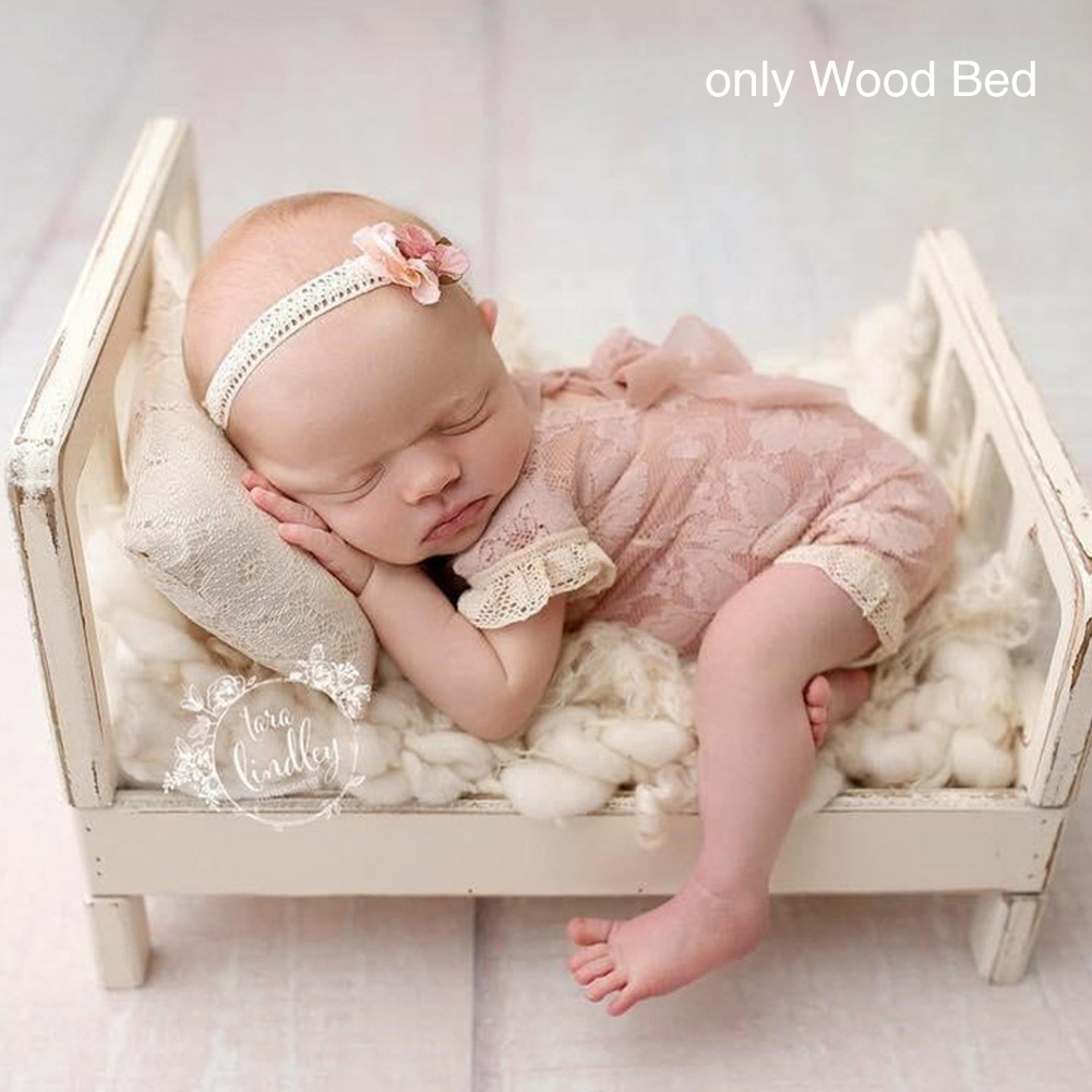 Sofa Posing Wood Bed Studio Props Baby Photography Gift Photo Shoot Background Newborn Crib Detachable Infant Basket Accessories