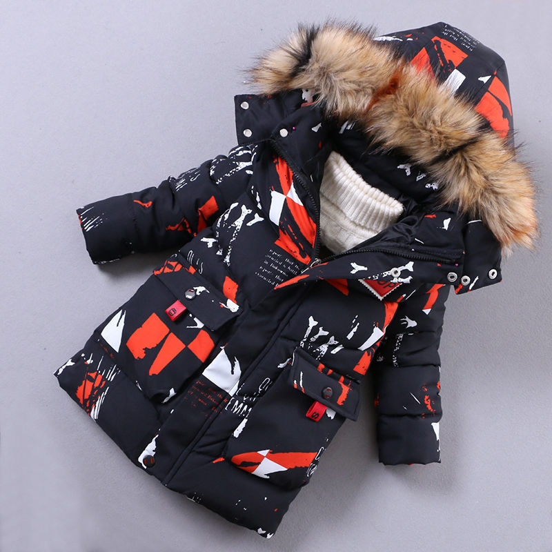 Boys warm outerwear winter kids fashion cotton long thick down parkas for baby boys children casual doorout coats clorhing boys