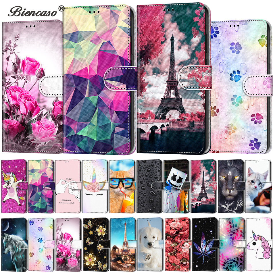 Colored Painted Card Slot Wallet Flip Cases For Alcatel 1 1S 2019 Stand Coque for Alcatel 3 3L 3X 2018 Cover Mobile Phone Bags(China)