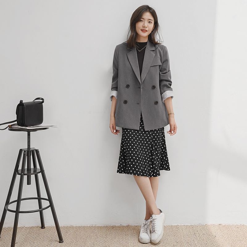 Korean Casual Women Suit Jacket Loose Solid Gray Stylish Jacket Simple Blazer Paillette Retro Women Party Jacket New MM60NXZ