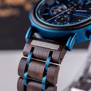 Image 5 - Reloj hombre bobo pássaro novo relógio de madeira masculino marca superior luxo cronógrafo militar relógios quartzo para o homem dropshipping personalizado