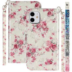 Śliczne etui na telefon z klapką do Samsung Galaxy Note 9 10 Pro S20 Plus Ultra Lady telefon komórkowy z klapką ze skóry torebka kwiatowa D01G