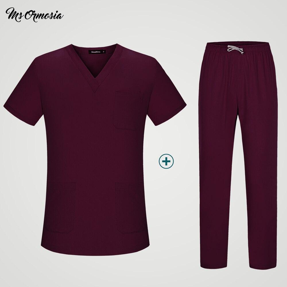 Solid Color Unisex Medical Surgical Pharmacy Nurse Uniform Scrub Sets Beauty Salon Sets Spa Uniform Womens Medical Shirt Outfit