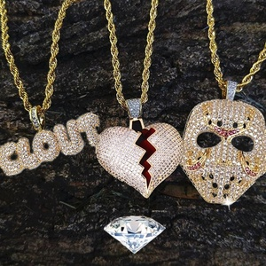 Rhinestone Mask Long Necklace Stainless Steel Pendant Necklace Hip Hop Broken Heart Necklaces Jewelry Gift Chain Necklace(China)
