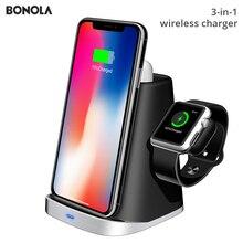 Carregador sem fio bonola 3 em 1, plataforma de carregamento para iphone xsmax, apple watch, airpods e airpods apple watch, relógio da apple