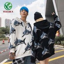 2019 Men Hoodie Couple Shark Print Autumn Winter Warm Joker Hip Hop Fashion Couple Sweatshirt High Quality Top