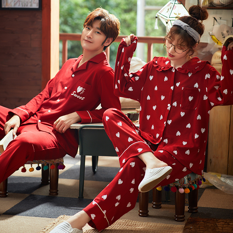 BZEL Long Sleeves Long Pants Sleepwear Red Lovers' Pajamas Sets Cartoon Ladies Homewear Cotton Male Nighty Fashion Pijama Pyjama