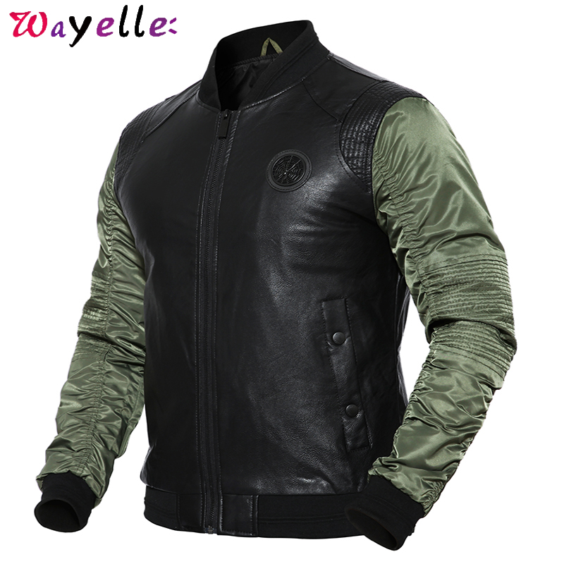 Men Bomber Jacket Fashion Pilot Jacket Coat Patchwork PU Leather Jackets Spring Autumn Military Motorcycle Jackets Men Jacket