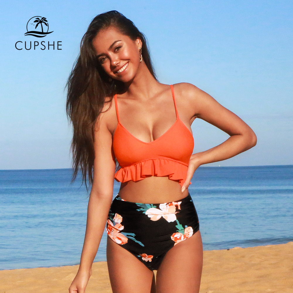 Laranja e Floral de Cintura Rendas até Tank Roupa de Banho Cupshe Alta Bikini Define Mulher Sexy Maiô Duas Peças 2020 Praia