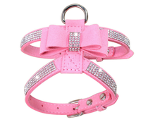Puppy Harness Bling Rhinestone Pet Dog Leash with Bowknot Shiny hot diamond bow pet chest strap rhinestone dog