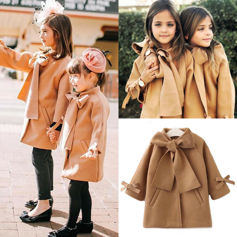 Toddler Baby Kid Girl Winter Clothes Bowknot Coat Top Princess Formal Outfits
