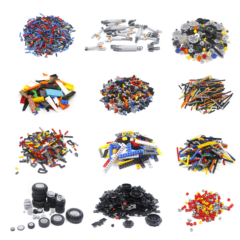 Technic Gear Steering Wheels Studless Beam Arms Pin Connctor Axle Chain Panel Chain Link Parts Fit For Legos MOC Brick DIY Toys