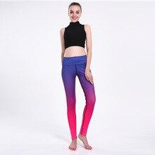Синий и красный градиент для похудения бедра движение дышащий супер эластичный быстросохнущие дамы девять леди брюки леггинсы