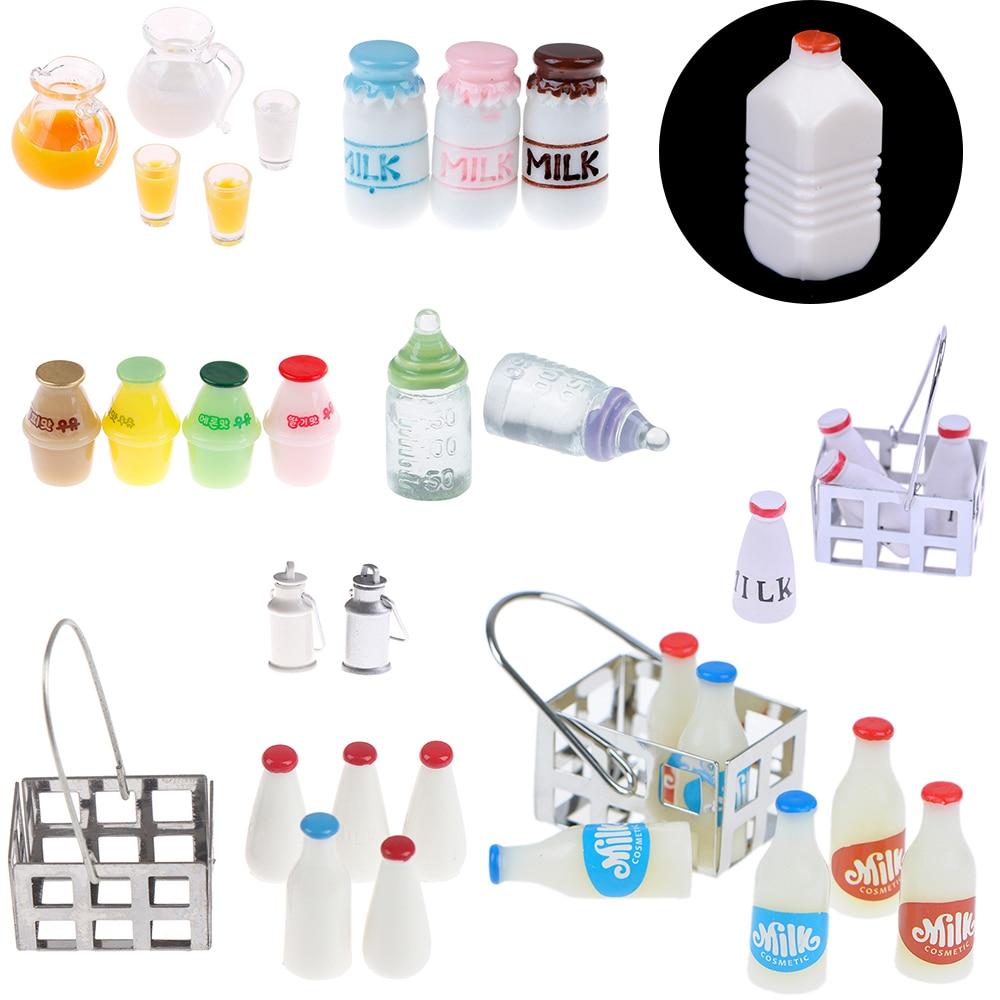 Bébé bricolage jouets étagère à lait panier cruche avec couvercle bouteille poupées maison cuisine accessoires meubles décor 1/12 maison de poupée Miniature