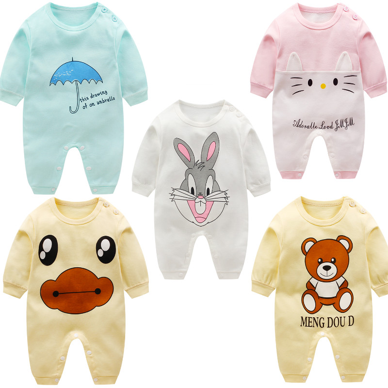 Baby Cotton Clothes Newborn Autumn Unisex Baby Rompers 0 To 3 Months 3-15M Infant Rabbit Bear Cartoon Long Sleeve Baby Rompers