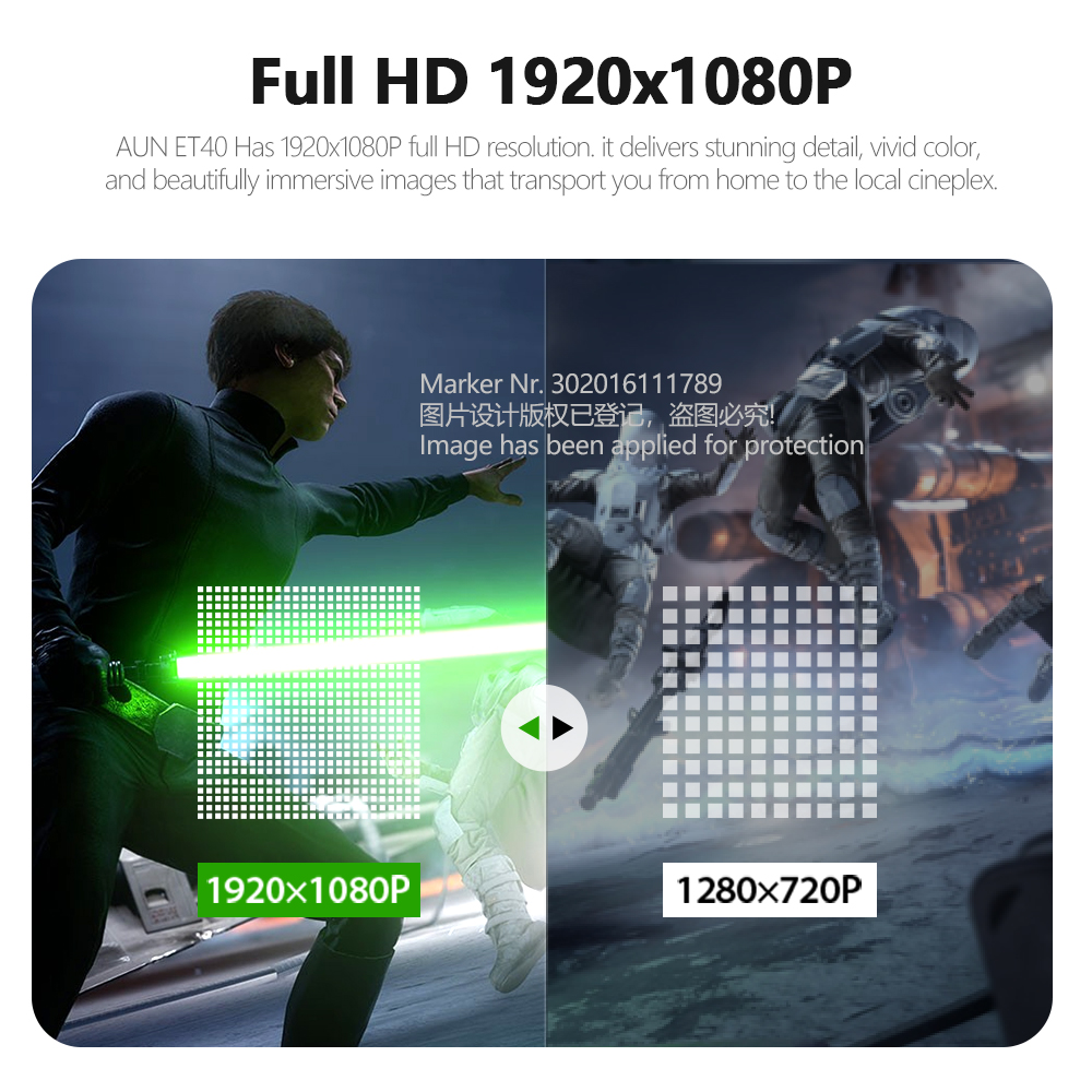 AUN ET40 Projector Full HD 1080P Android 9 Video Projector LED Projector 4k Decoding Mini Beamer for Home Theater Cinema Mobile 4