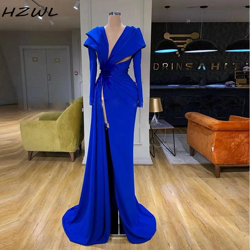 High Side Split Evening Dresses Long Deep V Neck Royal Blue Long Sleeve Ruched Prom Dress Robe De Soiree African Party Dress