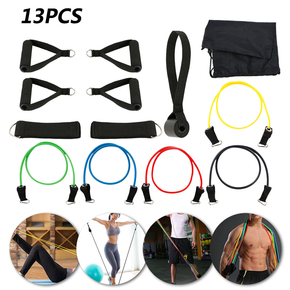 11/13pcs Fitness Pull Rope Resistance Bands Set Strength Gym Equipment Home Elastic Exercises Body Fitness Workout Equipment