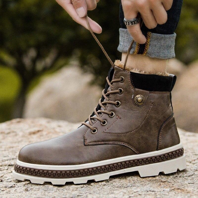 Men Boots 2019 Fashion Pu Leather Winter Boots men Velvet Casual Shoes Men Snow Boots Lace Up Comfort Work Shoes Men Plus Size|Basic Boots| |  - title=