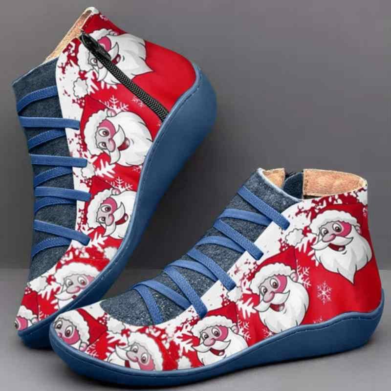 Botas de Invierno para Mujer con cordones de cuero genuino Botas de tobillo de nieve primavera marrón zapatos planos Mujer cortos con piel Botas Mujer Invierno