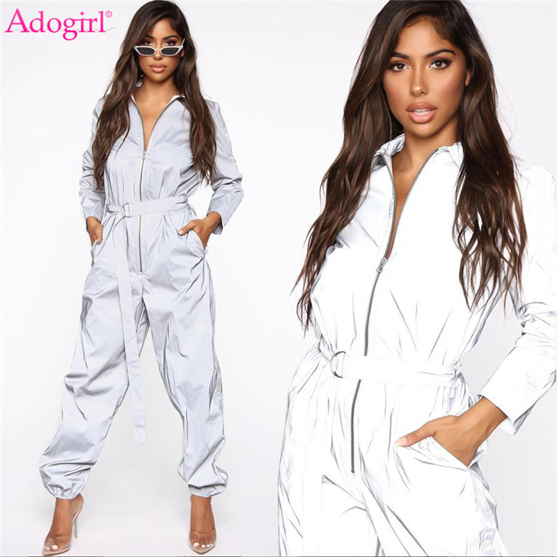Adogirl 2019 Autumn New Women Reflective Jumpsuit With Belt Zipper Turn Down Collar Long Sleeve Loose Casual Romper Overalls