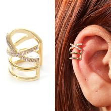 Fashion Gold Color Crystal Helix Cartilage Conch Fake Piercing Jewelry Adjustabl