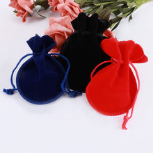 Jewelry Packaging Velvet Small Pouches Drawstring Storage Bag Small Pocket Handmade Drawstring Christmas Gift Coin Purse(China)