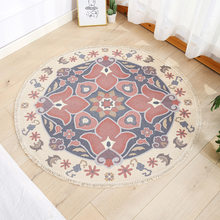 Moroco Round Carpet for Living Room Macrame Bedroom Rugs Prayer Floor Mats Classic Floral Rug Hand Woven Cotton Linen Carpets(China)
