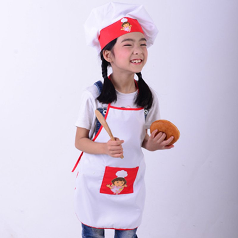 Kids Cooking Costumes Children Apron Chef Hat Set Baby Chef Costume For Craft Art Cooking Baking DIY Painting SYT9351