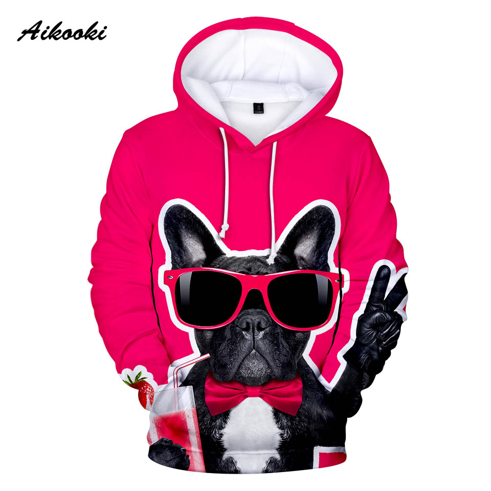 I Love Dogs Design with Bulldog and Poodle Men 3D Print Pullover Hoodie Sweatshirt with Front Pocket