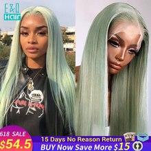 Perruque Lace Front wig naturelle brésilienne Remy, cheveux lisses, vert clair, 13x4, 180% de densité, pour femmes africaines