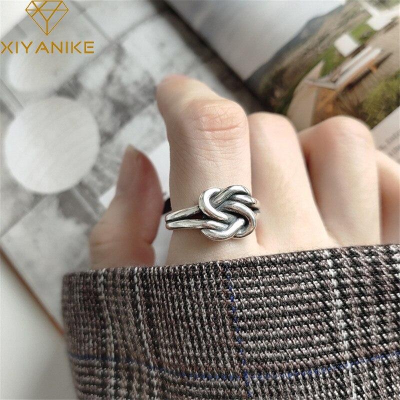 XIYANIKE – bague rétro en argent Sterling 925 pour femme, accessoire de bijouterie tendance, ligne à Double nœud, tissé, à la mode