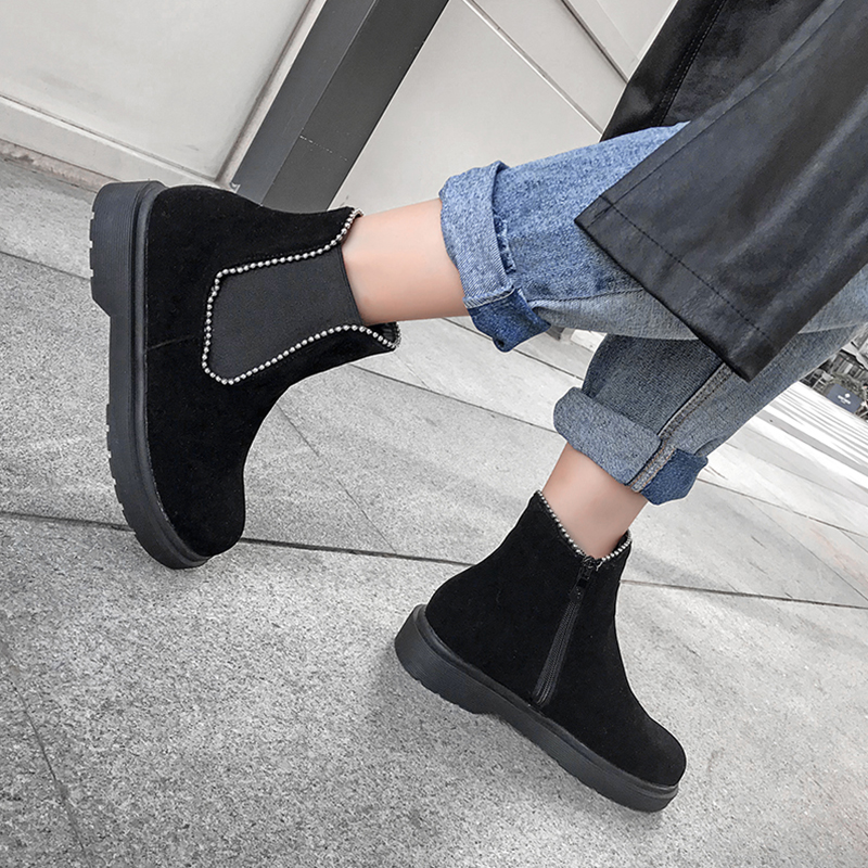 winter platform flat ankle Chelsea boots women short plush zipper string bead metal decoration elastic band casual shoes female in Ankle Boots from Shoes