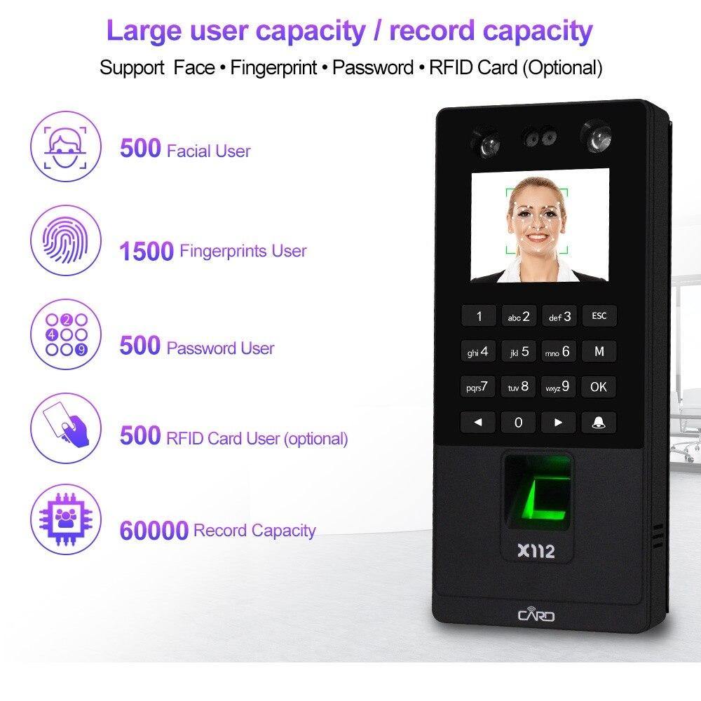 Sistema de teclado de Control de acceso Facial biométrico RFID máquina de asistencia de huella digital compatible con contraseña Facial tcp/red IP USB - 2