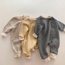 MILANCEL 2020 śpioszki dla niemowląt futrzana podszewka chłopców odzież dla niemowląt niemowlę dziewczynki odzież wierzchnia ubranko dla dziecka kombinezon dziecięcy tanie tanio COTTON CN (pochodzenie) Unisex W wieku 0-6m 7-12m 13-24m W paski baby O-neck Swetry Pajacyki Pełna MIL1023 Pasuje prawda na wymiar weź swój normalny rozmiar