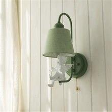 Европейский настенный светильник с тканевым покрытием для спальни
