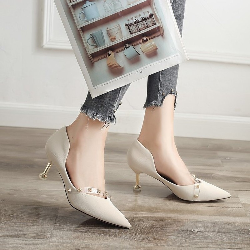 New Women Casual Shoes Woman Autumn Sleek High Heels with Tapered Toes and Thin Rivets Women Shoes B09
