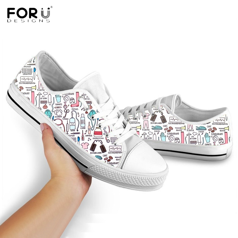 FORUDESIGNS Cute Cartoon Nursing Shoes for Women Casual Low Top Lace Up Sneaker Spring/Autumn Nurse/Medical Ladies Canvas Shoes image