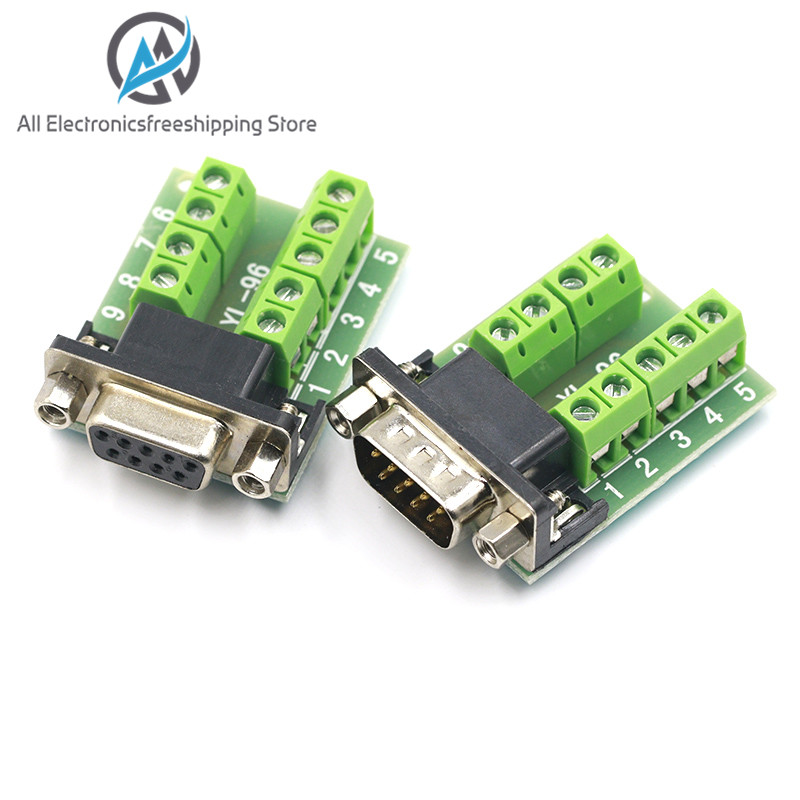 2Pcs DB9 female 9Pin D-Sub Connector solderless Terminal Board Plastic Cover scr