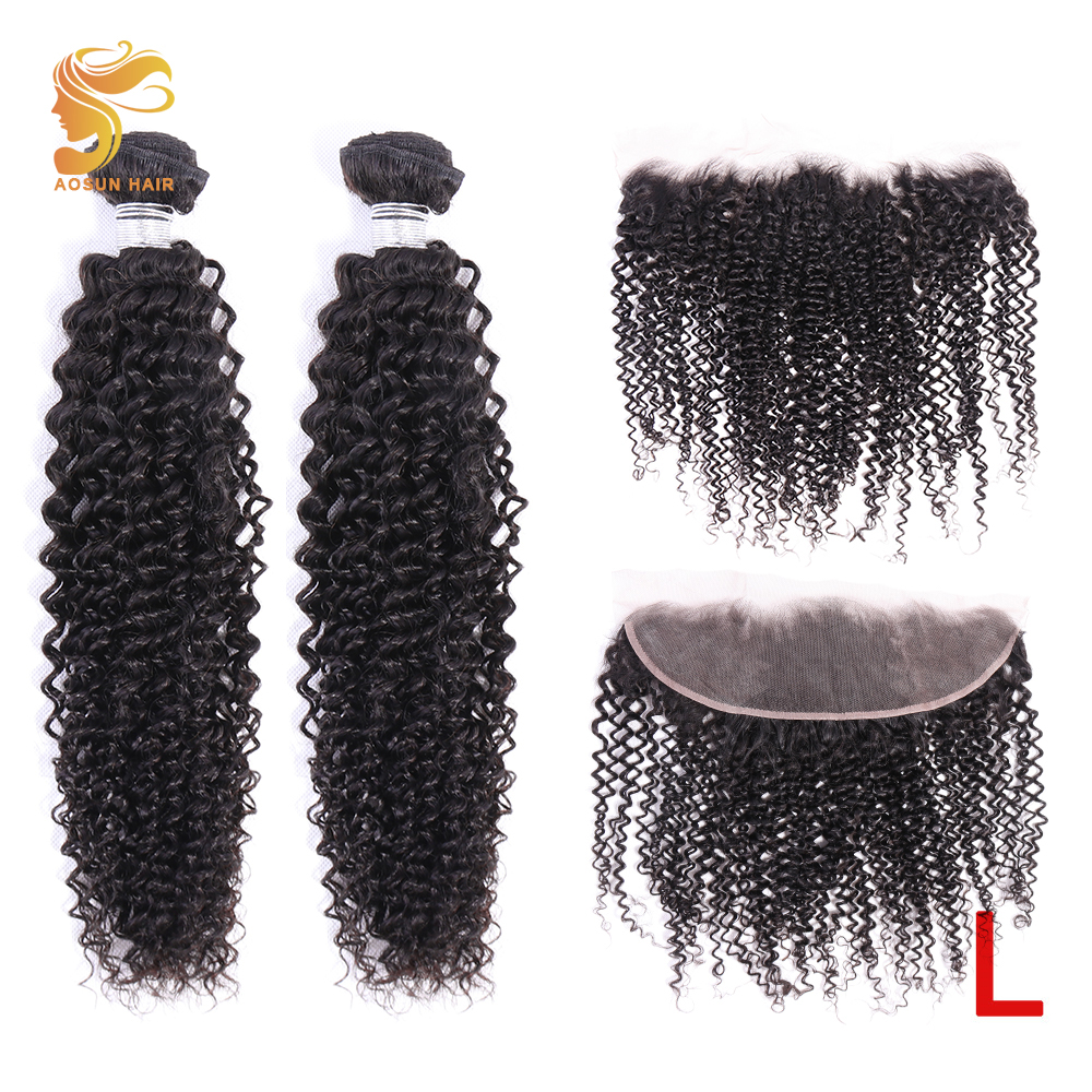 AOSUN HAIR Kinky Curly Bundles With Frontal Human Hair Bundles With Ear To Ear 13x4 Frontal Remy Brazilian Hair Weave Bundles