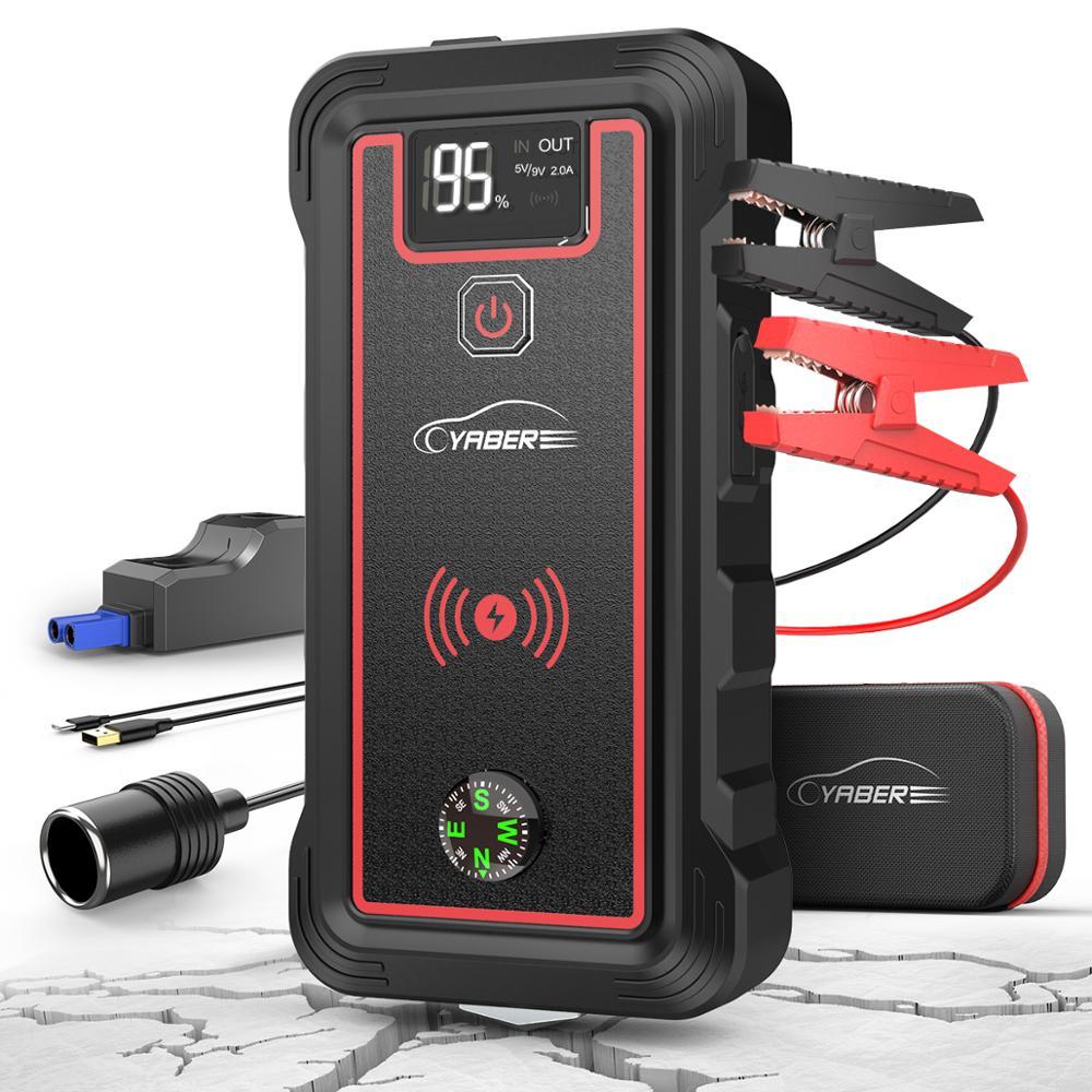Yaber 23800mAh Car Jump Starter Peak 2500A Power Bank Car Battery Jumpstarter With 10W Wireless Charger LCD Screen Safety Hammer