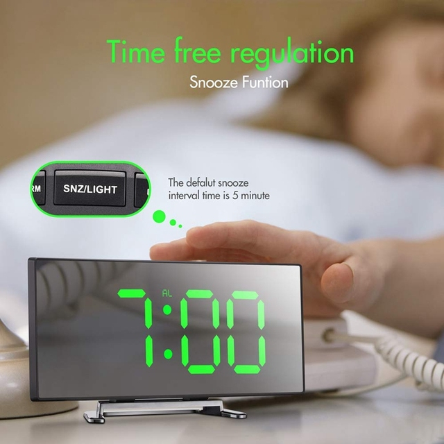 Table Alarm Clock For Room Curved Dimmable LED Sn Electronic Digital desktop Clock for Kids Bedroom Large Number Table Clock 5