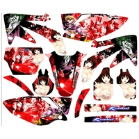 Full Graphics Decals Stickers Diversified Girls Sexy Girl Custom Number Name 3M Bright For HONDA CRF450R 2005 2006 2007 2008