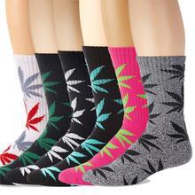 Thick Terry Maple Leaf Socks Skateboard Weed Crew Man Women Unisex Hemp Long High Black Creative Fashion Autumn Winter