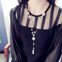 Nuevo collar largo con flor de moda para mujer joyería de Perlas simuladas borla Perlas collares y colgantes Bijoux Femme Perle